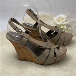 Seychelles Taupe Patent Leather Wedge Cork Heels